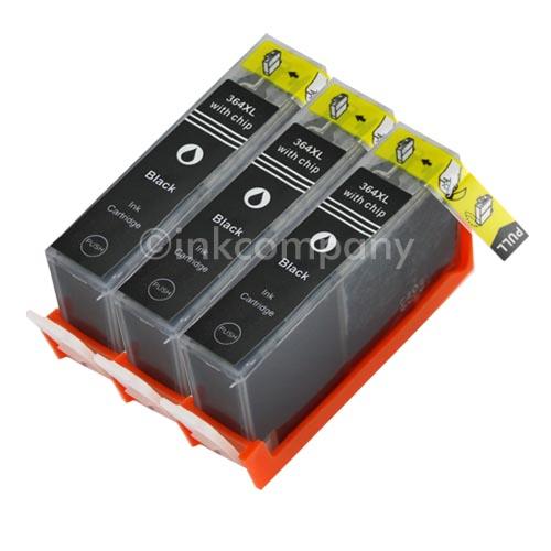 3-BK-FUR-HP364-XL-CHIP-TINTE-PATRONEN-DESKJET-3070A-3520-3522-OFFICEJET-460-4622