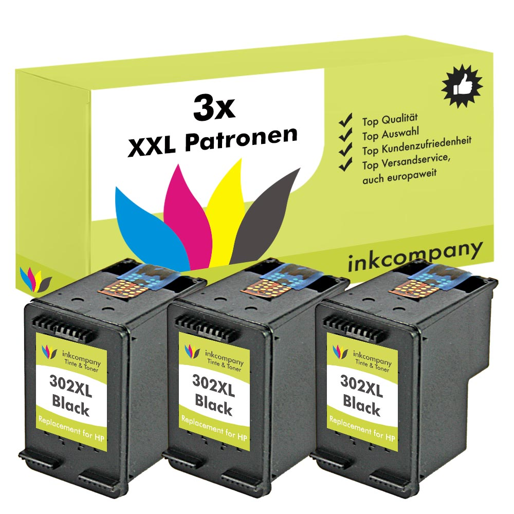 3x cartuchos HP 302XL NEGRO OFFICEJET 4654 3830 3834 4650 ...